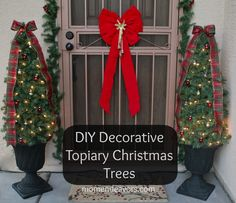 DIY Decorative Topiary Christmas Trees via momendeavors.com! WAY less expensive than store--bought & easy to make! #lowescreator