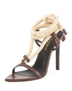 73d03433846 Saint Laurent Majorelle Leather Rope Sandal
