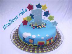 Trains first birthday cake