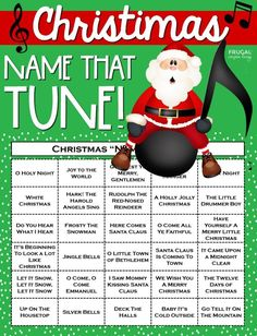 Christmas Name that Tune Printable : Looking for a fun holiday game with a small or large crowd? This Christmas Name that Tune Printable and Game brings smiles, laughter, and some of the Best Christmas Songs to fill your home this holiday season! Christmas Names, Christmas Games For Kids, Holiday Games, Christmas Party Games, Christmas Fun, Holiday Fun, Holiday Ideas, Xmas Games, Christmas Playlist