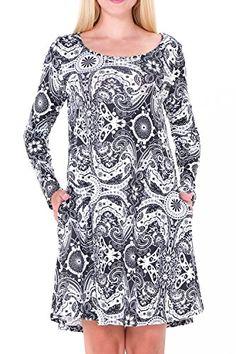 DawnRaid Women's Casual A-Line Midi Dress With Pockets Loose Tunics Long Sleeve