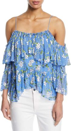 660c83fd163d Alice + Olivia Tia Floral-Print Ruffled Blouse Off Shoulder Blouse, Off The  Shoulder