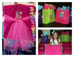 Luau party gift bags and pillowcases