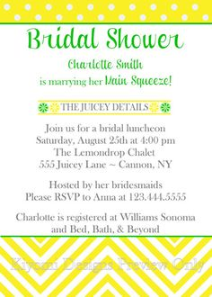 Main Squeeze Lemon Lime Themed Bridal Shower by KiyomiDesigns, $13.00