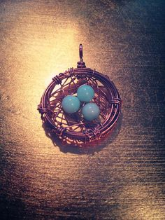Copper Bird's Nest Wire Wrap with Blue Peruvian Opal by AlchemIyze, $33.00 now available on Etsy