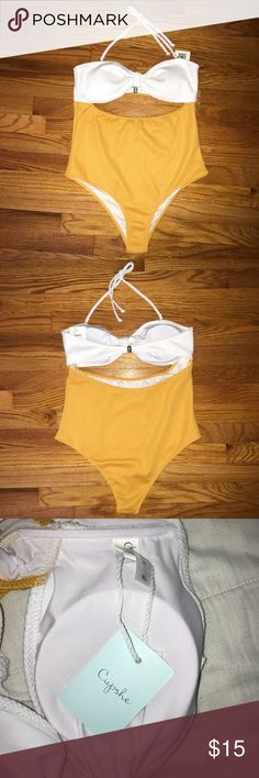 Cupshe One Piece With Cutout Brand new one piece from Cupshe. Super cute yellow and white with removable halter strap. The size says XL but it runs a little small. Cupshe Swim One Pieces