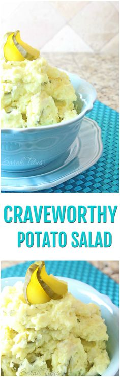 This craveworthy potato salad has some fun ingredients in it, including water chestnuts and pickle juice. Although it may seem odd, this recipe is totally to die for. It's SOOOO tasty!