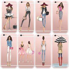Fällen Für iPhone 6 6 s Plus 6 Plus Modische Kleid Einkaufs Moderne Mädchen Gemalt TPU Transparente Freie Weiche Silikon Telefonabdeckung
