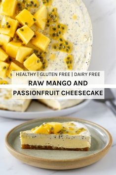 This raw mango and passionfruit cheesecake is the perfect summer raw dessert. Made with three amazing ingredients - macadamias, mango and passionfruit, this dessert is simply irresistible. Passionfruit Cheesecake, Passionfruit Recipes, Mango Cheesecake, Healthy Cheesecake, Cheesecake Recipes, Raw Food Recipes, Sweet Recipes, Dessert Recipes, Keto Recipes