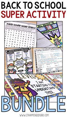 Back to School Superhero Theme Activity Bundle Back To School Superhero, Superhero Classroom Theme, 3rd Grade Classroom, Classroom Themes, Back To School Activities, School Resources, Teacher Resources, School Ideas, Bulletin Board Design