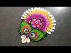 Beautiful & attractive rangoli for new year 2020 Diya Rangoli, Rangoli Designs Diwali, Decoration For Ganpati, Rangoli Patterns, Beautiful Rangoli Designs, New Year 2020, Peacock, Cute, Youtube