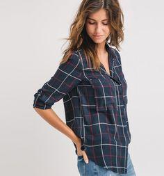 Chemise à carreaux Femme carreaux marine - Promod