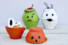 Leuke snoepdoosjes voor Halloween of Sint Maarten, gemaakt uit een eierdoosje!