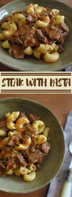 Steak with pasta | Food From Portugal. Sometimes the time is short to prepare recipes, especially on those hectic days of the week. This delicious steak recipe with pasta is very simple, quick and tasty! Bon appetit!!! #recipe #steak #pasta