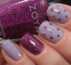 Purple nails... I just love the purple glitter and the light lavender but not together.