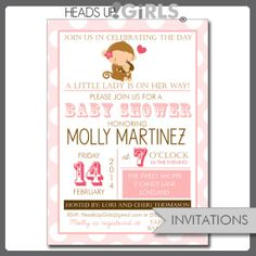 Set of 12 Personalized Pink Monkey Valentine's Baby Shower Invitations by HeadsUpGirls, $18.00