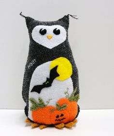 Halloween felt owl 8 inch stuffed owl HOOT by moonspiritstudios, $39.00