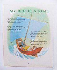 My Bed is a Boat - Vintage Storybook Print - Picture and Poem by Robert Louis Stevenson - Nursery Decor - Bedroom Decor - Paper Ephemera on Etsy, £4.00