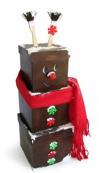 """Winter crafts for kids are so """"cool!"""" How cute are these Frosted Reindeer Boxes?"""
