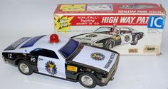Vintage Tin Litho Battery Op HIGHWAY PATROL Police Car by Illco / Taiyo, Japan