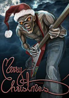 """Rockin Creepmas"" Eddie from Iron Maiden! Heavy Metal Christmas, Dark Christmas, Merry Christmas, Christmas Meme, Christmas Greetings, Christmas Decor, Heavy Metal Bands, Pop Rock, Rock N Roll"