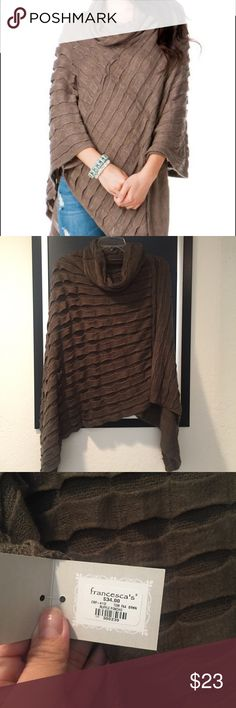 Francesca's Ruffle Poncho Beautiful brown Poncho. Soft, warm and comfortable. Asymmetrical cut. Stunning piece! One size. Francesca's Collections Sweaters Shrugs & Ponchos