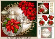 Christmas Perfume Bottle The Scent Of Red Poinsettias on Craftsuprint designed by Anne Lever - This lovely mini kit makes a large square topper (approx 8x8) with decoupage, a greeting and a matching insert. It features a gorgeous crystal perfume bottle, embellished with fabulous red poinsettias. It has seven greetings. the greetings are, with love, merry christmas, seasons greetings, mum