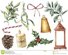 Watercolor Christmas Decor With Plant And Berries. Hand Painted Eucalyptus, Snowberry, Bell, Red Bow, Candle, Mistletoe Stock Illustration - Image: 102431015