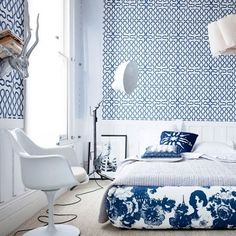 Squiggle wallpaper in a blue & white bedroom contemporary decor, contemporary furniture, Exclusive Design, Designer Furniture, Interior Design, Best decor, Decorating secrets, entrance hall,living area. get inspired on: http://www.bocadolobo.com/en/inspiration-and-ideas/