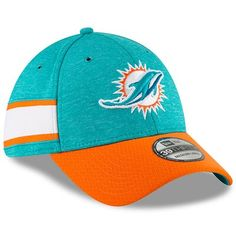 7b27305afb564b Youth New Era Aqua/Orange Miami Dolphins 2018 NFL Sideline Home 39THIRTY  Flex Hat