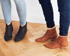 20% OFF SALE Flat ankle boots Dark brown door WalkByAnatDahari