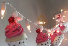Fake Cupcake Hot Pink Rockabilly String of Lights 12 Legs Original Concept Design 10 Mini Hot Pink Fake Cupcakes Bakery Decor First on Etsy on Etsy, $42.00
