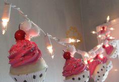 Fake Cupcake Pink Rockabilly String of Lights