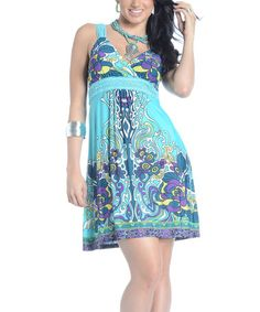 Take a look at this Blue & Purple Floral Surplice Dress - Women by Shoreline Wear on #zulily today!