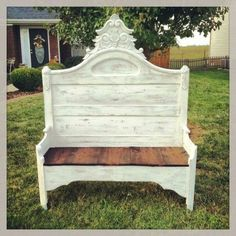 Bench from bed post shabby chic