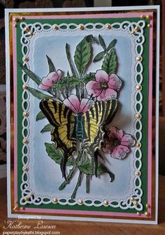 Butterfly and Flowers Card