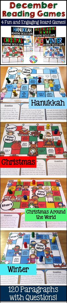 Are you looking for a fun way to teach students about holiday and winter traditions? This December Reading Comprehension Board Game Bundle contains 4 different seasonal board games to help students practice a variety of fiction and nonfiction reading skills. Each game card includes 30 holiday-themed paragraphs and multiple choice questions to assess students' understanding.