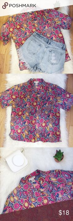 VTG 80s 90s Silk Print Blouse Button Down Blouse Preowned Vintage Potomac Collection Multi color Blouse Top Button up front 80's 90's style Multi-Color: pink, blue, yellow, and pink Abstract geometric pattern Gently used condition with no stains or holes great with vintage high waisted denim jeans and shorts Size: medium Material: 100% silk Please see pictures for approximately measurements while flat, unstretched.  Feel free to make an offer or bundle & save!  (B16) Vintage Tops Button Down…