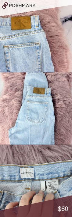"""Calvin Klein VIntage High Waist Acid Wash Jeans 30 Incredible vintage CK Jeans. From the early 90s era. 10 on tag, 30x32x a super high 12.5 rise. Light blue acid wash.   If you like it, send me an offer! Too shy to offer? Add it to bundle and I'll send you my best price! Want to buy it full price? Comment """"SOLD"""" and add to bundle to receive free or discounted shipping.   Thanks for stopping! Come back soon as I add new vintage, streetwear, designer, and athleisure regularly! Calvin Klein…"""