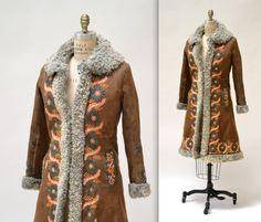 Vintage Embroidered Shearling Afghan Jacket Coat Small Medium//  70s Shearling Coat Embroidered Sheepskin Fur Boho Afghan Jacket by Hookedonhoney on Etsy https://www.etsy.com/listing/209121700/vintage-embroidered-shearling-afghan