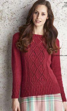 женский пуловер спицами с узором