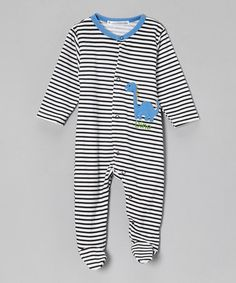 Take a look at this Black & White Stripe 'Dino' Footie - Infant by Rumble Tumble on #zulily today!