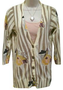 Anthropologie Sweater Floral Zebra Cardigan