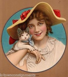 MARY PICKFORD MOVIE ACTRESS CUTE KITTEN CAT ANTIQUE GRAPHIC MAGAZINE COVER PRINT