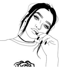 Tumblr Girl Drawing, Tumblr Drawings, Cute Girl Drawing, Cool Drawings, Teenage Drawings, Girl Outlines, Tumblr Outline, Lips Illustration, Ariana Grande Drawings