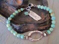 Turquoise layering bracelet Believe artisan by slashKnots