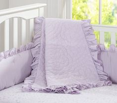 Ruffle Collection Nursery Bedding: Available in Lavender, White, Pink, Gray and Pink Combo