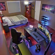 Gamer Bedroom, Bedroom Setup, Room Design Bedroom, Bedroom Ideas, Cool Room Designs, Gaming Room Setup, Gaming Rooms, Gaming Desk, Pc Setup