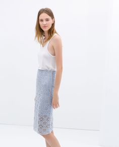 ZARA - WOMAN - PALE BLUE MIDI LENGTH LACE SKIRT