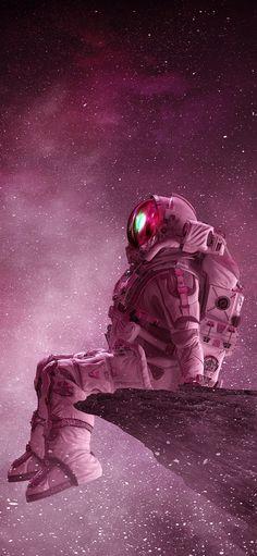 Astronaut Sitting at Space Wallpaper ~ Fisoloji